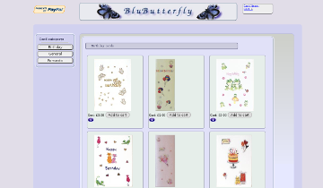 Image of blubutterfly website -previous work undertaken by Steven Griffiths